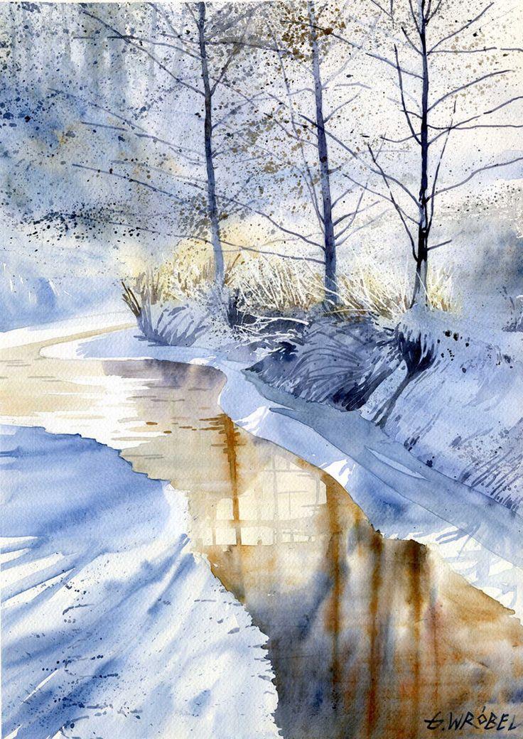 Winter 01 by Grzegorz Wróbel, Watercolor