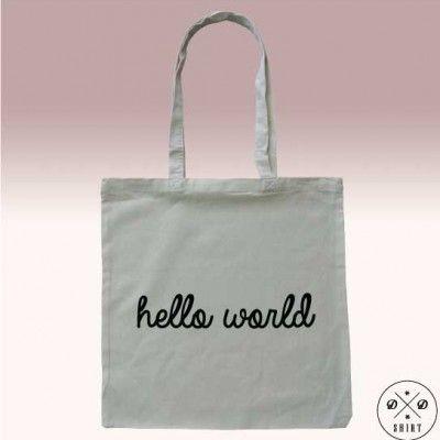 Świetna eko torba z nadrukiem HELLO WORLD.  Great eco bag with text HELLO WORLD. Great gift