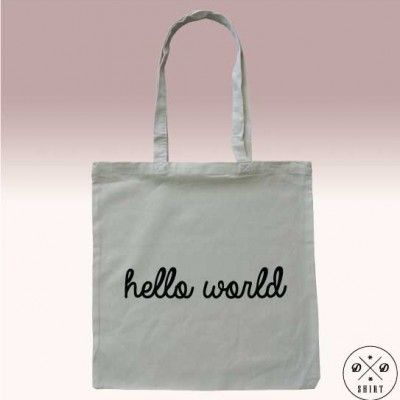 Świetna eko torba z nadrukiem HELLO WORLD.  Great eco bag with text HELLO WORLD. Great gift