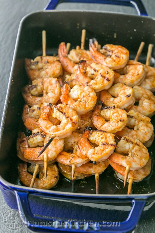 These grilled shrimp skewers have a lightly charred smokiness that's irresistible. The extra marinade at the end ensures great flavor in every bite.