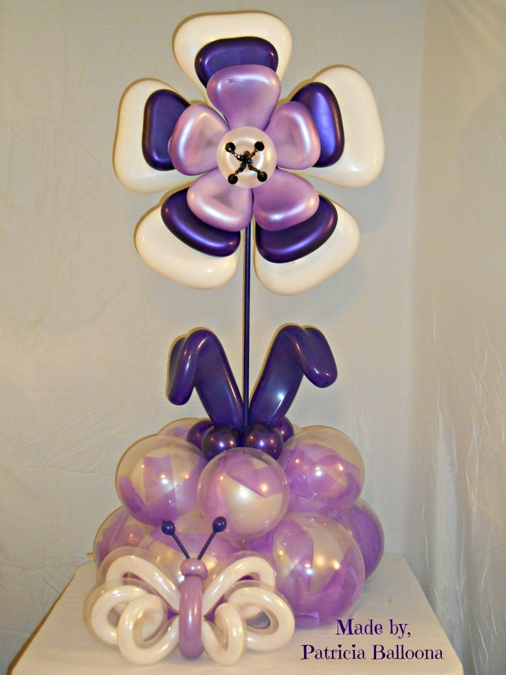 517th Balloon Sculpture, Purple Explosion Flower Bouquet