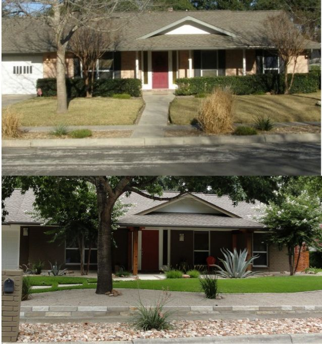 Ranch Redo, We Updated Our 1960s Ranch. Took Down The Shutters And Dying  Holly Bushes, Painted The Brick, Enlarged The Patio, Changed The Posts, Reu2026