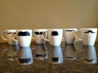 DIY espresso cups with mustache art using Silhouette vinyl.  Other images and free vector art on the blog.