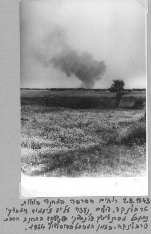 Treblinka, Poland, Smoke raises from the burning of corpses in the camp, 02/08/1943.