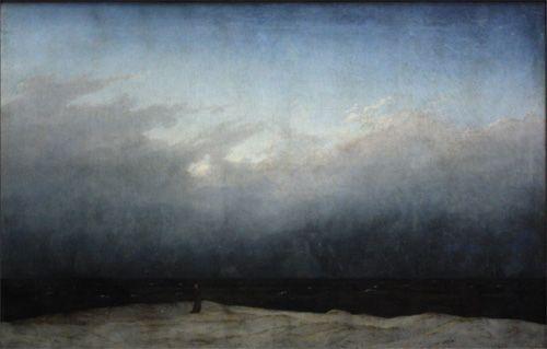 Caspar David Friedrich, der Monch am meer, 1808-09. De monnik staat in peinzende houding op de duintoppen, verdiept in beschouwing van de hemel en de zee, en in datgene wat deze twee ongetwijfeld symboliseren: de oneindigheid, het mateloze. De kunst is de grens. Door een monnik als toeschouwer te schilderen heeft Friedrich het religieuze karakter van het schilderij benadrukt. Voor de romanticus toont het goddelijke, of het bovennatuurlijke, zich in de natuur.