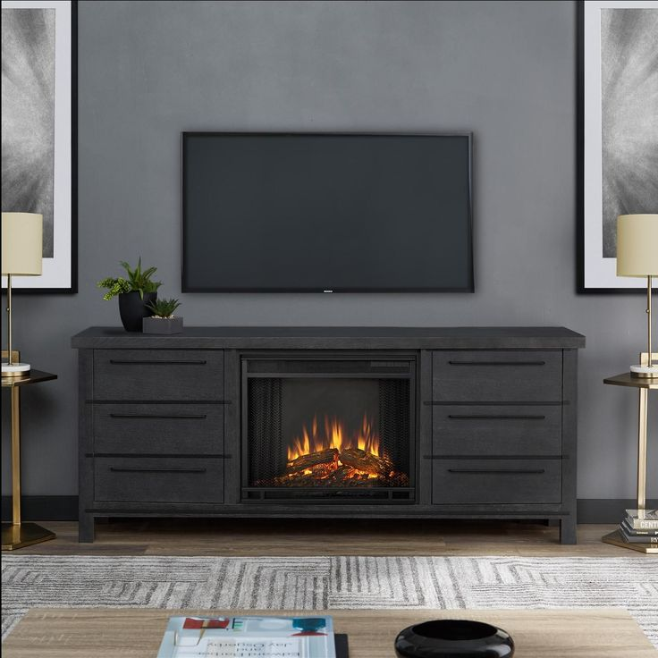 Real Flame Parsons 67-Inch Electric Fireplace Entertainment Center – Antique Gray – 8280E-AGR