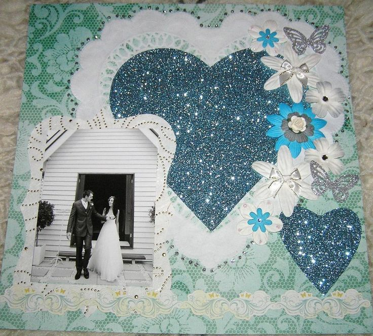 """SCRAPBOOK PAGE HANDMADE 12 X 12....""""No title""""...lovely wedding page...reduced to $9.99"""