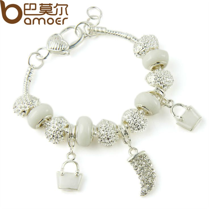 BAMOER Silver Plated Crystal Charm Bracelets & Bangles With White Murano Glass Beads Handmade Jewelry PA1336