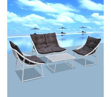 Utemöbler 2 stolar 1 soffa 1 bord i konstrotting vit