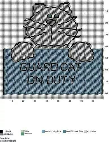 GUARD CAT by GrannyS Designs - WALL HANGING