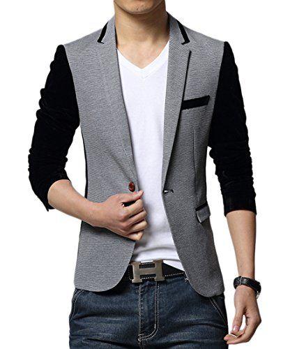Insun Hombre Traje Bicolor De Blazer Slim Fit Solapa Manga larga Chaqueta f0a4242a774