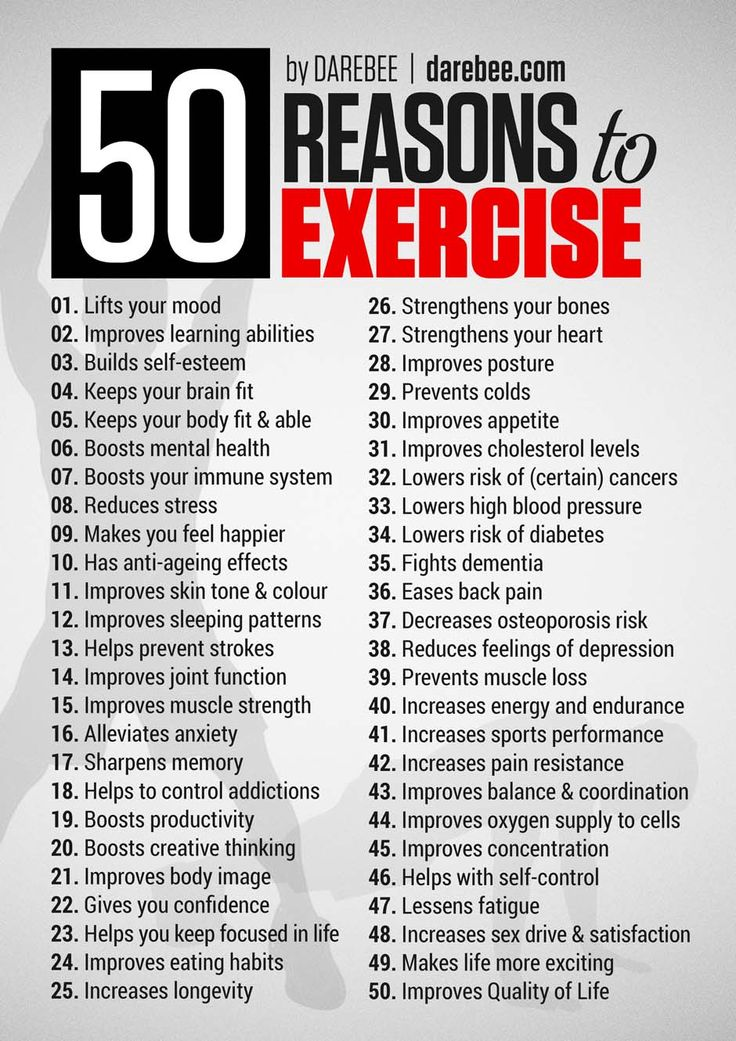 50 compelling reasons to exercise and be more active, convincing enough to get anyone started.