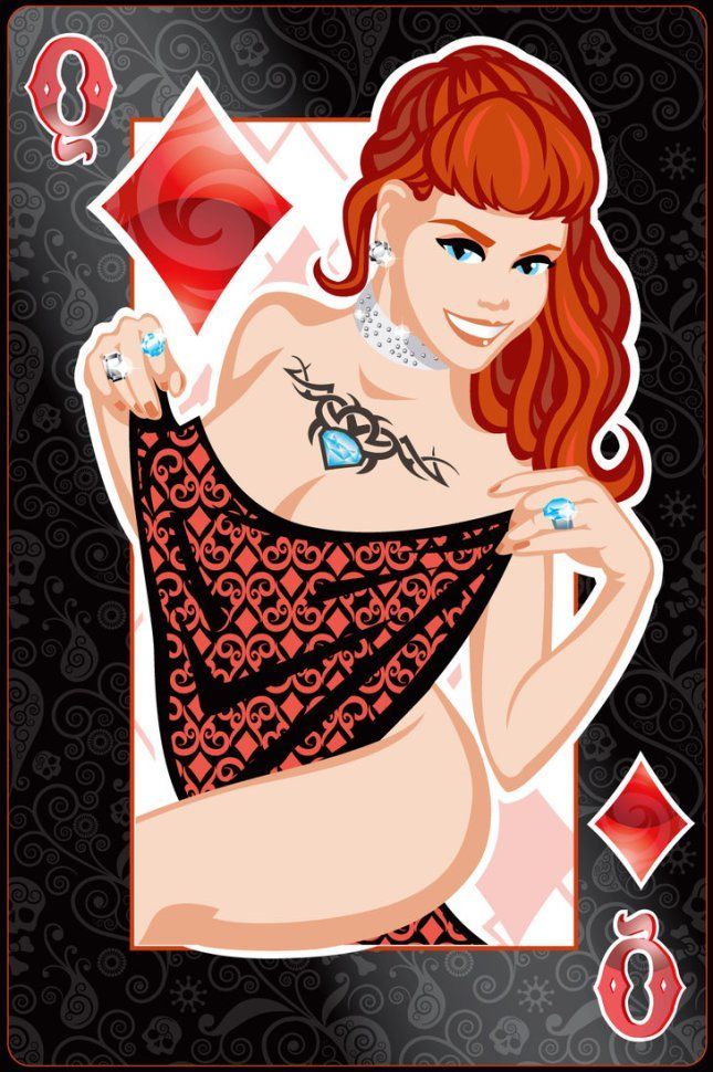 Pin-Up Playing Cards by Jeff Chapman: The Queen of Diamonds