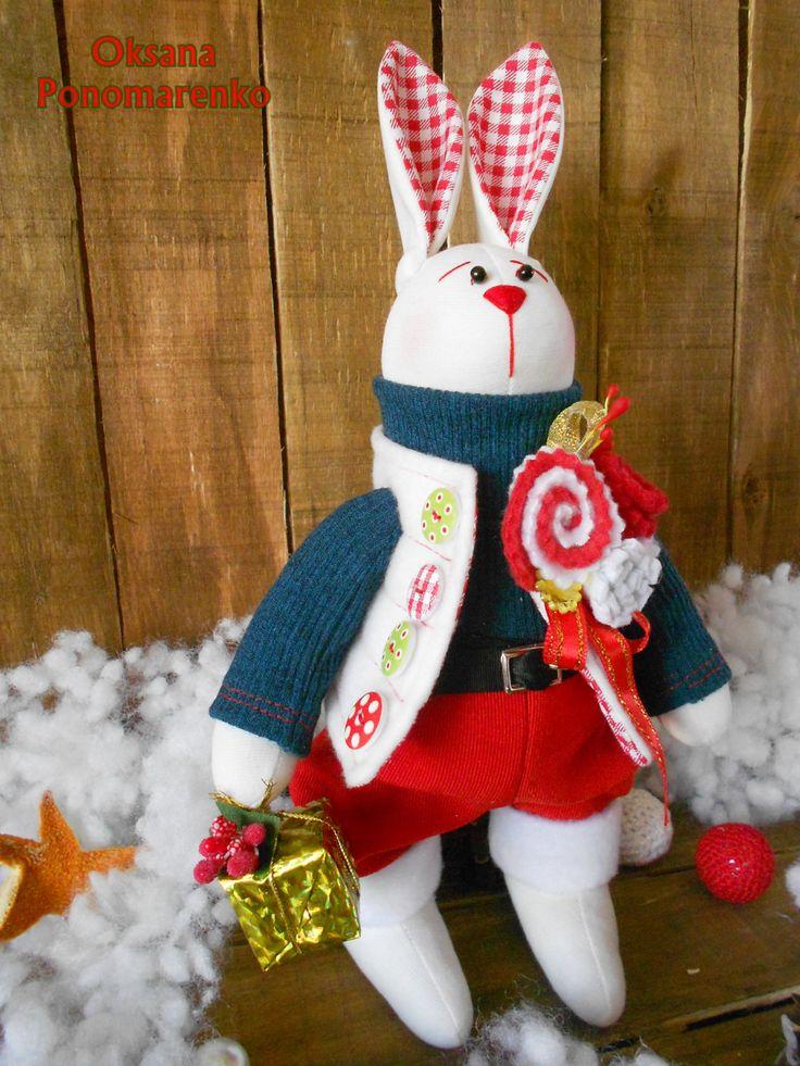 Christmas Rabbit. Stuffed tilda bunny. Christmas fabric Bunny. Gift for Christmas. Cloth animal toy bunny. by DollCotton on Etsy