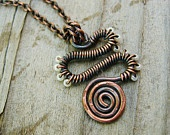 The Friendly Serpent - wrapped in antiqued copper and pearly white glass seed beads