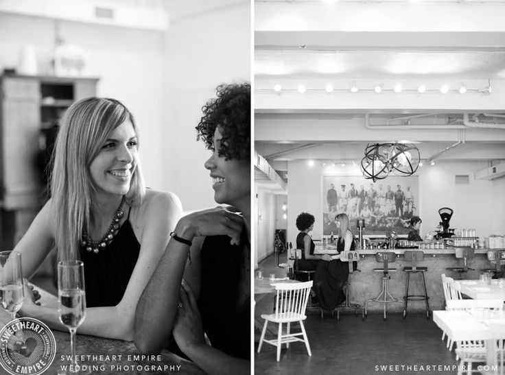 Glass of bubbly at their Brunch engagement session. L'Ouvrier Kitchen Bar, Toronto Engagement photos, same-sex wedding, restaurant engagement session. #sweetheartempire #sweetheartempirephotography