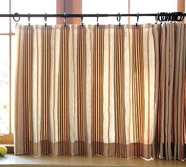 Max Stripe Cafe Curtain For Powder Room Cafe Curtains