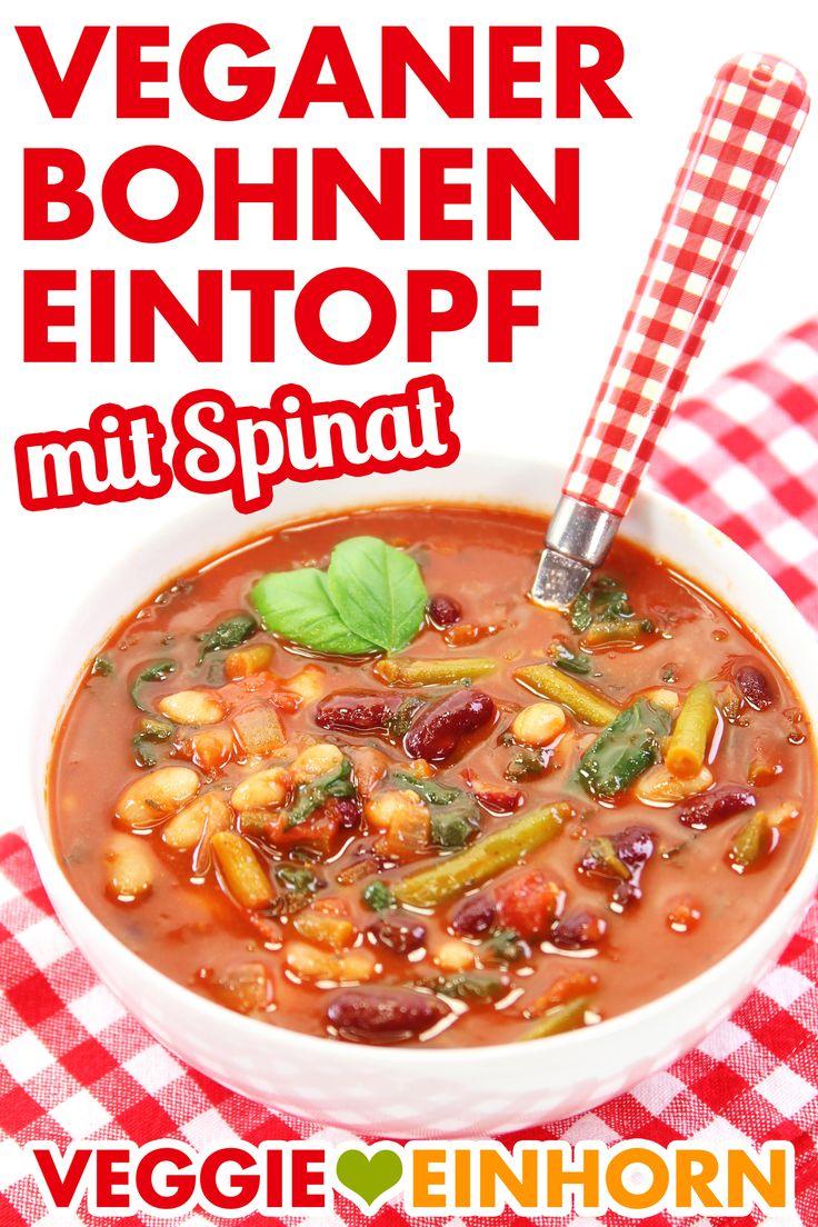 Gesunde VEGANER BOHNEN STUNN mit Spinat | Vegetarische Bohnensuppe mit …   – EINFACHE VEGANE REZEPTE