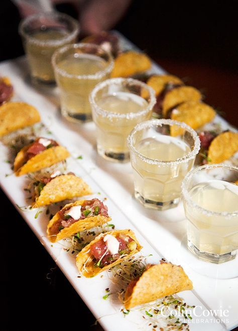 Pairing miniature passed appetizers with complimenting cocktails makes for a chic combination guests will love. Appetizers, Party Food Ideas, Finger Foods, Wedding Food