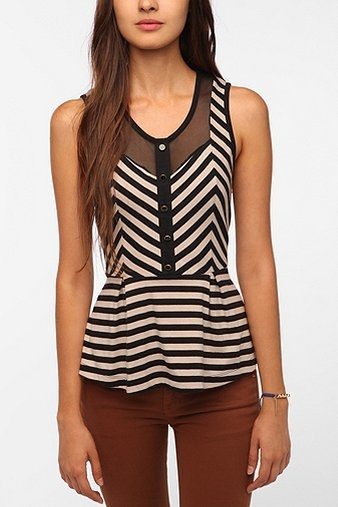 stripes and peplum. #urbanoutfitters: Mesh Peplum, Urban Outfitters, Peplum Tops, White Shirts, Peplum Color Pink, Black White, Tanks Tops, Needle Stripes, Peplum Tanks