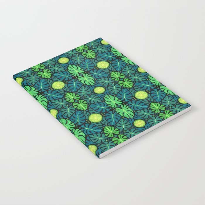 Buy Monstera leaves, floral pattern, black, green & turquoise Notebook by clipsocallipso. Worldwide shipping available at Society6.com. Just one of millions of high quality products available.