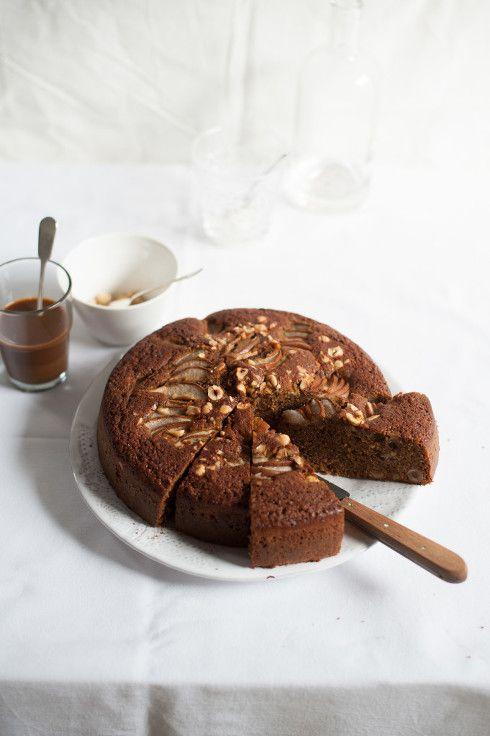 Pear, Coffee and Hazelnut Cake