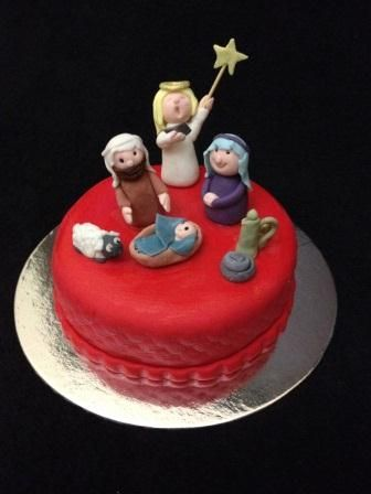 Nativity scene Christmas cake by Chaos Cakes