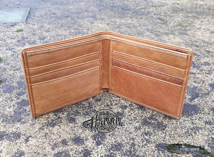 New Handmade Genuine Cowhide Leather Men's Slim Wallet Bifold Purse Brown #Handmade #Bifold