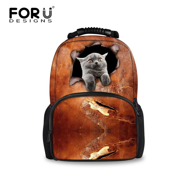 Women Backbag 3D Zoo Animal Printing Backpacks Cute Cat Dog School Bagpack for Girl High Quality Students Brown Satchel Mujer