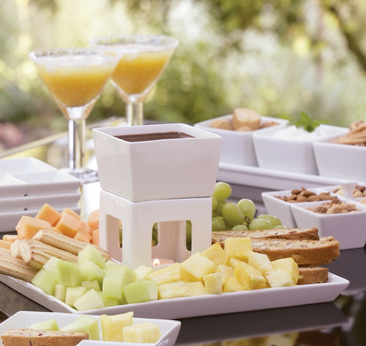 Fresh fruit, chocolate fondue, and refreshing drinks on a warm summer's day!