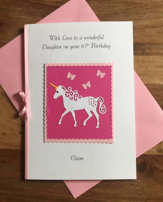Handmade Personalised Birthday Card For Any Age And Relation Daughter Sister Friend Niece Granddaughter The Design Is A Unicorn On Scalloped Pink