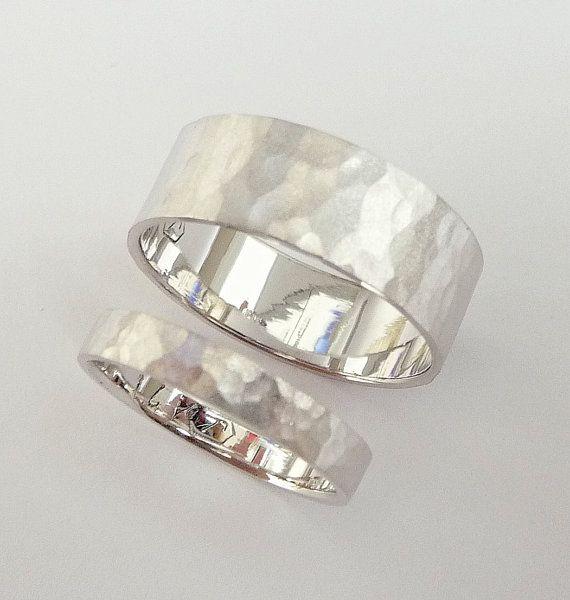 wedding rings set white gold wedding band set men and women flat hammered sandblast mat finish