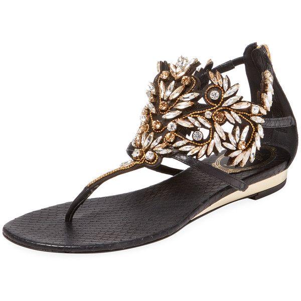 Rene Caovilla Women's Embellished Ayers Snakeskin Demi Wedge Sandal -... (7.710 ARS) ❤ liked on Polyvore featuring shoes, sandals, black, black low wedge sandals, embellished sandals, zip back sandals, mid heel wedge sandals and rene caovilla sandals