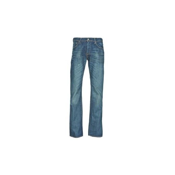 Levis 527 Bootcut Jeans ($120) ❤ liked on Polyvore featuring men's fashion, men's clothing, men's jeans, blue, levi mens jeans, mens flare leg jeans, mens bootcut jeans, mens blue jeans and mens boot cut jeans