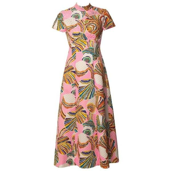 Preowned 1960's Mr. Blackwell Pink Colorful Swirl Print Rhinestone... (1,005 CAD) ❤ liked on Polyvore featuring dresses, pink, pink maxi dress, multi color maxi dress, embellished dress, vintage a line dresses and embellished maxi dress