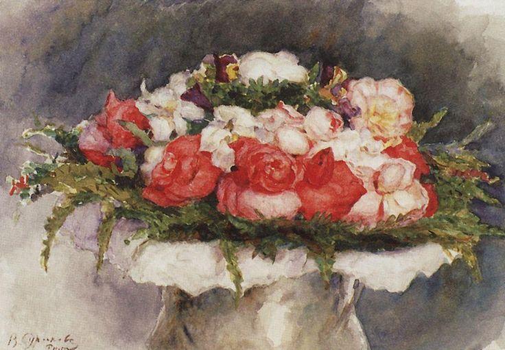 цветы Василий Суриков. Галерея живописи. Букет. Бумага, акварель. 1884