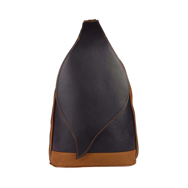 . OBC Made in Italy DAMEN echt Leder RUCKSACK Lederrucksack Tasche Schultertasche Ledertasche Nappaleder Handtasche Schwarz-Cognac