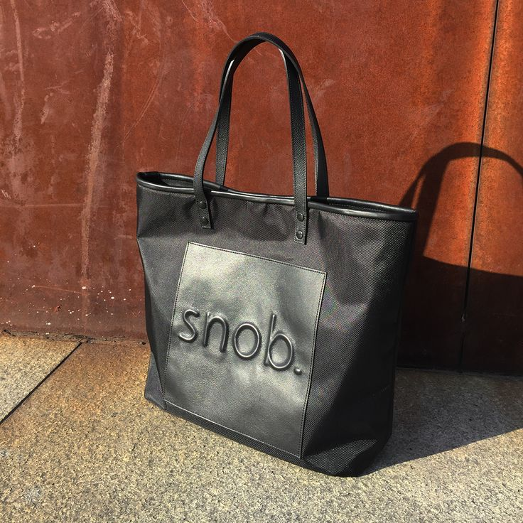 snob. 2017 All Black Collection - leather and nylon - embossed logo tote bag