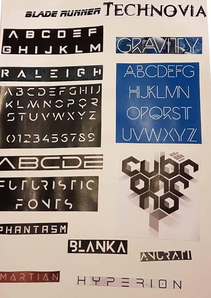 """Ik heb gekozen voor futuristische fonts en """"ruimte"""" fonts. veel sci-fi films zoals irobot & chappie spelen zich af in de toekomst. Of zoals The Martian in de ruimte"""