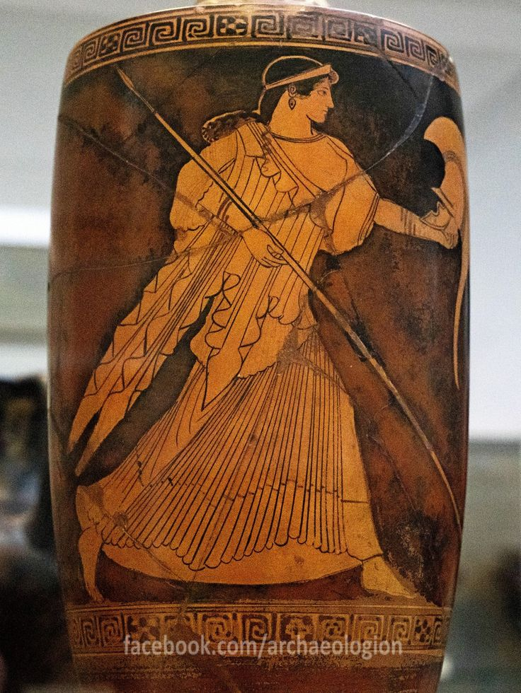 """Red figured lekythos depicting goddess Athena, made in Attica. Attributed to """"The Provinence Painter"""". Circa 480-450 BC. From Gela, Sicily (Magna Graecia). The British Museum."""