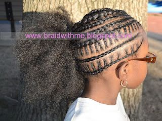 Girls' Natural Style: Connected cornrows to side with puff: Hair Ideas, Kid Hairstyles, Cornrow, Hair Styles, Girl Hairstyles, Girls Hairstyles, Kids Hairstyles, Braided Hairstyles, Natural Hairstyles