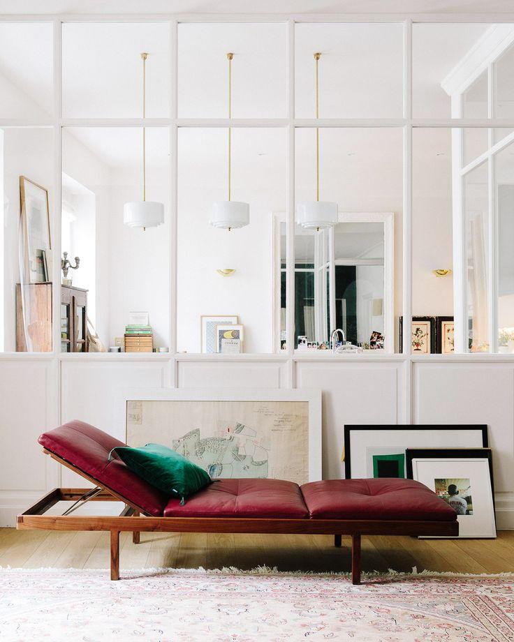 gorgeous leather lounger | a happy chic parisian apartment tour via coco kelley