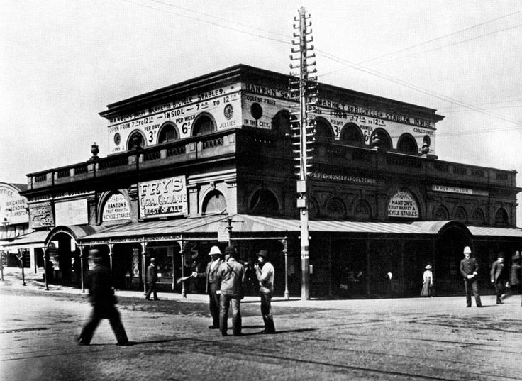 before Flinders Steet Station there was Hanton's Fruit Market and Bycicle Stables (old Fishmarket) photographed in1895