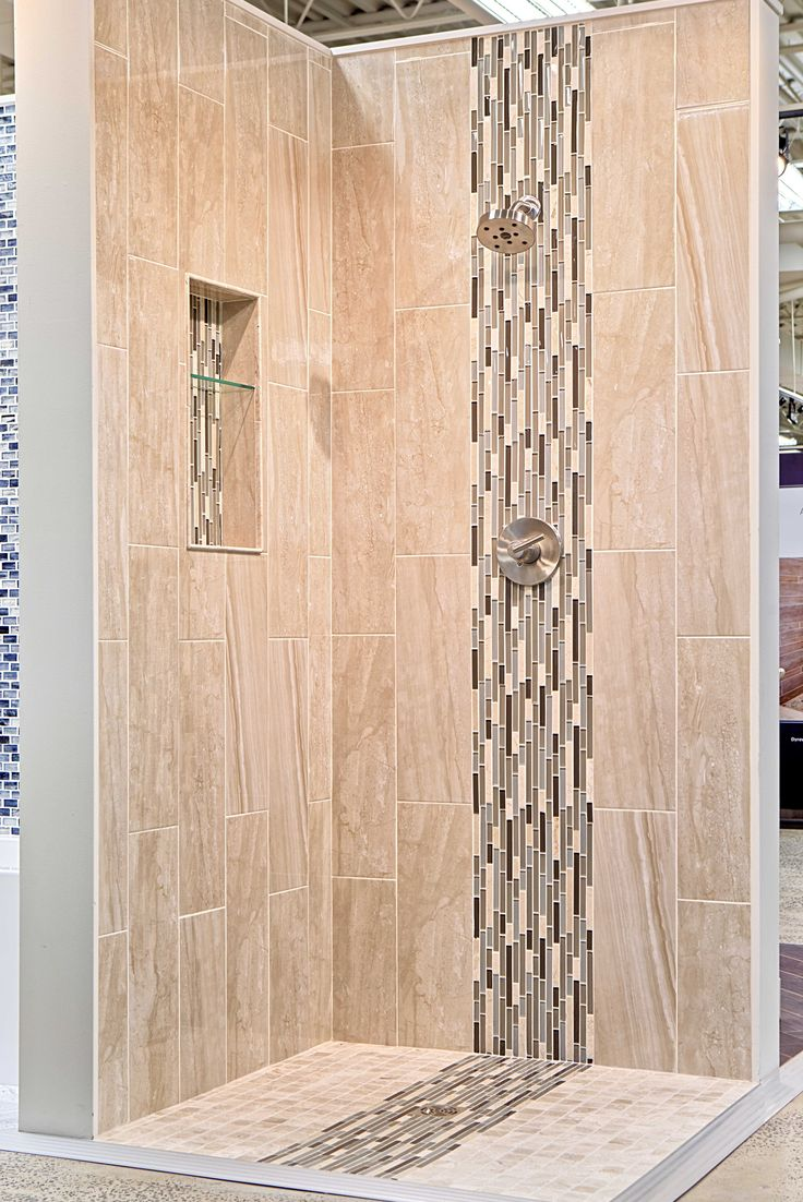 Bathroom shower wall tiles - Bathroom Shower Stria Focal Point Tile Waldron Stria Glass And Stone Floor And Wall Tile