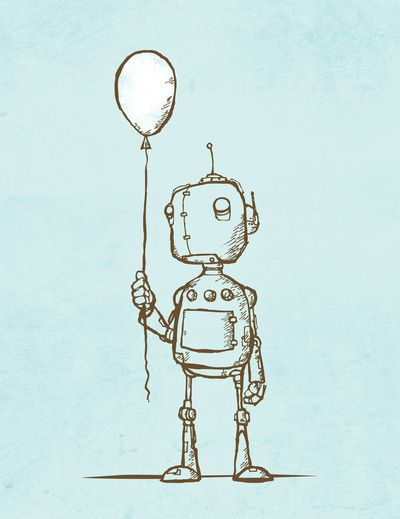 A Robot's Balloon Art Print