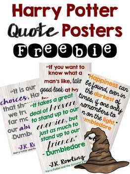 Hi friends,Here are 4 different (and free!) Harry Potter quote posters to hang in your classroom.Enjoy,Martina