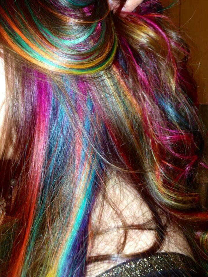 rainbow hair highlights