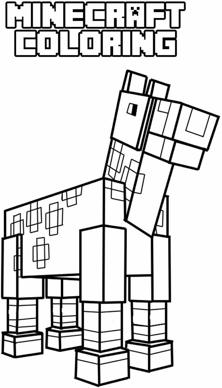 Minecraft Horse Coloring pages for children at the
