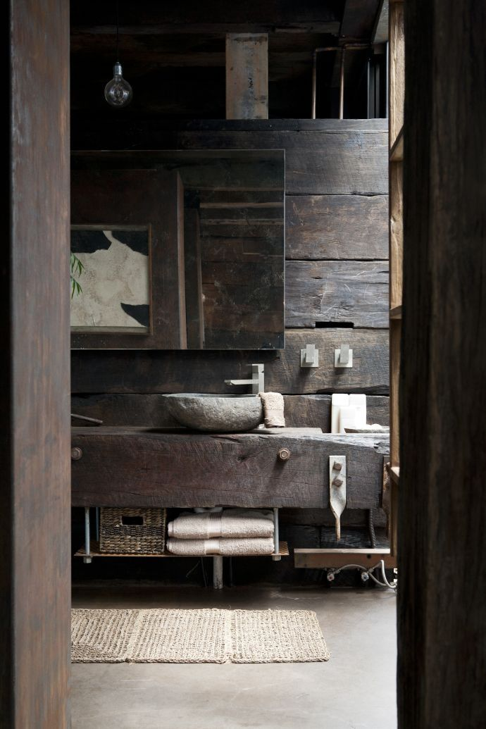 Cabin life - bathroom using fabulous upcycled timber + stone sink