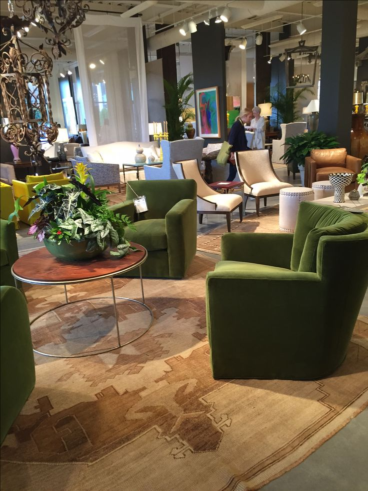 Green with envy over this seating at LEE Industries. The color is just stunning. Green Velvet Chair. LEE Industries & Paysage Home.